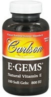 Carlson Labs - E-Gems 800 IU - 100 Softgels - $34.38