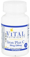 Vital Nutrients - Iron Plus C 20mg/200 mg - 100 Vegetarian Capsules