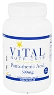 Vital Nutrients - Pantothenic Acid 500 mg. - 100 Vegetarian Capsules CLEARANCE PRICED (693465506110)