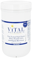 Vital Nutrients - New Zealand Grass-Fed Whey Protein Powder 92% with Organic Raw Cacao - 600 Grams