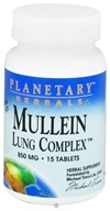 Planetary Herbals - Mullein Lung Complex 850 mg. - 15 Tablets CLEARANCE PRICED - $1.93