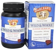 Barlean's - Fresh & Pure Wild & Whole Alaskan Salmon Oil 800 mg. - 180 Softgels, from category: Nutritional Supplements