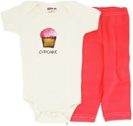Kee-Ka - 100% Organic Cotton Baby Gift Set Short Sleeve BodySuit + Leggings Cup Cake 3-6 Months - CLEARANCE PRICED