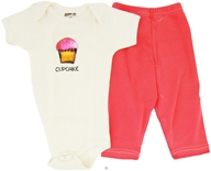 Kee-Ka - 100% Organic Cotton Baby Gift Set Short Sleeve BodySuit + Leggings Cup Cake 6-12 Months - CLEARANCE PRICED