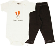 Image of Kee-Ka - 100% Organic Cotton Baby Gift Set Short Sleeve BodySuit + Leggings Honey Bunny 6-12 Months - CLEARANCE PRICED