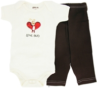 Kee-Ka - 100% Organic Cotton Baby Gift Set Short Sleeve BodySuit + Leggings Love Bug 6-12 Months - CLEARANCE PRICED (875385000606)