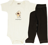 Kee-Ka - 100% Organic Cotton Baby Gift Set Short Sleeve BodySuit + Leggings Monkey 6-12 Months - CLEARANCE PRICED