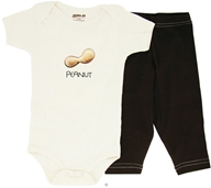 Kee-Ka - 100% Organic Cotton Baby Gift Set Short Sleeve BodySuit + Leggings Peanut 6-12 Months - CLEARANCE PRICED