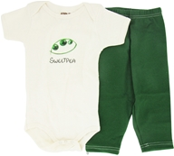 Image of Kee-Ka - 100% Organic Cotton Baby Gift Set Short Sleeve BodySuit + Leggings Sweet Pea 6-12 Months - CLEARANCE PRICED