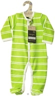 Image of Kee-Ka - Small Change 100% Organic Long Sleeve Romper Green/Vanilla Stripe 0-3 Months - CLEARANCE PRICED