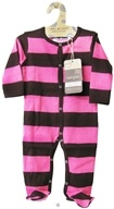 Image of Kee-Ka - Small Change 100% Organic Long Sleeve Kimono With Fold-Over Mittens Pink/Chocolate Stripe 0-3 Months - CLEARANCE PRICED