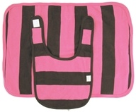 Image of Kee-Ka - 100% Organic Cotton Bib & Burp Set Pink/Chocolate Stripe 0-12 Months - CLEARANCE PRICED