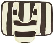 Image of Kee-Ka - 100% Organic Cotton Bib & Burp Set Vanilla/Chocolate Stripe 0-12 Months - CLEARANCE PRICED