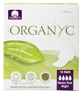 Image of Organyc - Organic Cotton Menstrual Pads with Wings Heavy Night Flow Night - 10 Pad(s)
