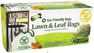 Green 'N' Pack Eco Friendly Bags - Lawn & Leaf Bags with Drawstring 30 Gallon - 15 Bags CLEARANCE PRICED
