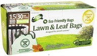 Green 'N' Pack Eco Friendly Bags - Lawn & Leaf Bags with Drawstring 30 Gallon - 15 Bags CLEARANCE PRICED by Green 'N' Pack Eco Friendly Bags