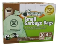 Image of Green 'N' Pack Eco Friendly Bags - Small Garbage Bags 4 Gallon - 30 Bags