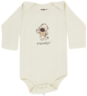Image of Kee-Ka - 100% Organic Cotton Long Sleeve BodySuit With Wearable Greetings Gift Box Monkey 3-6 Months - CLEARANCE PRICED