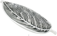 Triloka - Recycled Metal Incense Holder Aluminum Leaf Tray Silver - 10 in.