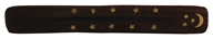 Triloka - Wooden Incense Holder Moon & Stars - 10 in.