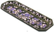 Triloka - Handpainted Incense Holder Purple Passion Tray - 9 in.