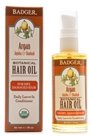 Badger - Hair Oil Botanical For Dry & Damaged Hair Argan, Jojoba & Baobab - 2 oz. (634084310016)
