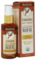 Image of Badger - Hair Oil Antioxidant For All Hair Types Seabuckthorn, Apricot & Pomegranate - 2 oz.