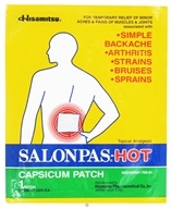 Salonpas - Hot Capsicum Patch Topical Analgesic - 5.12 in x 7.09 in (346581700015)