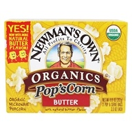 Newman's Own Organics - Pop's Corn Organic Microwave Popcorn Butter - 3 Pop & Serve Bags (3.3 oz) by Newman's Own Organics