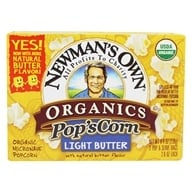 Newman's Own Organics - Pop's Corn Organic Microwave Popcorn Light Butter - 3 Pop & Serve Bags (2.8 oz) (757645000215)