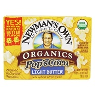 Image of Newman's Own Organics - Pop's Corn Organic Microwave Popcorn Light Butter - 3 Pop & Serve Bags (2.8 oz)