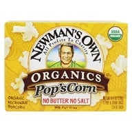 Image of Newman's Own Organics - Pop's Corn Organic Microwave Popcorn Unsalted - 3 Pop & Serve Bags (2.8 oz)