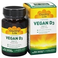 Country Life - Certified Vegan D3 5000 IU - 30 Softgels, from category: Vitamins & Minerals