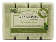 Image of A La Maison - Traditional French Milled Bar Soap Value Pack Rosemary Mint - 4 x 3.5 oz. Bars