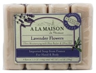 A La Maison - Traditional French Milled Bar Soap Value Pack Lavender Flowers - 4 x 3.5 oz. Bars (817252010103)
