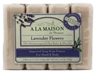 Image of A La Maison - Traditional French Milled Bar Soap Value Pack Lavender Flowers - 4 x 3.5 oz. Bars