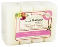 A La Maison - Traditional French Milled Bar Soap Value Pack Thousand Flowers - 4 x 3.5 oz. Bars (817252010097)