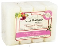 A La Maison - Traditional French Milled Bar Soap Value Pack Thousand Flowers - 4 x 3.5 oz. Bars