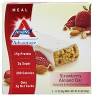 Atkins Nutritionals Inc. - Advantage Meal Bar Strawberry Almond - 5 Bars (637480025904)