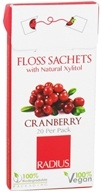 Radius - Floss Sachets with Natural Xylitol Cranberry - 20 Pack (085178001967)