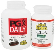Natural Factors - PGX Daily Ultra Matrix 750 mg BOGO (with free CLA Tonalin 1000 mg) - 120 + 60 Softgels (068958070278)