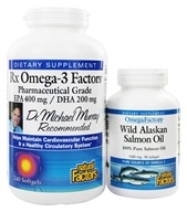 Natural Factors - RxOmega-3 Factors EPA 400 mg/DHA 200 mg BOGO (with free OmegaFactors Wild Alaskan Salmon Oil 1000 mg) - 240 + 90 Softgels by Natural Factors