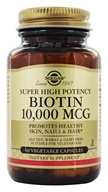 Solgar - Biotin Super High Potency 10000 mcg. - 60 Vegetarian Capsules, from category: Vitamins & Minerals