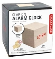 Image of Kikkerland - Alarm Clock Clap On Cube Light Wood
