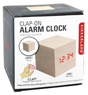 Kikkerland - Alarm Clock Clap On Cube Light Wood by Kikkerland