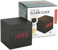 Kikkerland - Alarm Clock Clap On Cube Dark Wood (612615046023)