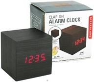 Image of Kikkerland - Alarm Clock Clap On Cube Dark Wood