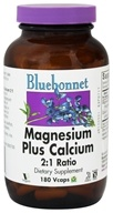Image of Bluebonnet Nutrition - Magnesium plus Calcium 2:1 Ratio - 180 Vegetarian Capsules