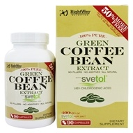 Rightway Nutrition - Green Coffee Bean 100% Pure Extract with Svetol - 90 Capsules, from category: Diet & Weight Loss