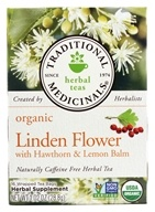 Traditional Medicinals - Organic Herbal Tea Linden Flower with Hawthorn & Lemon Balm - 16 Tea Bags (032917002259)